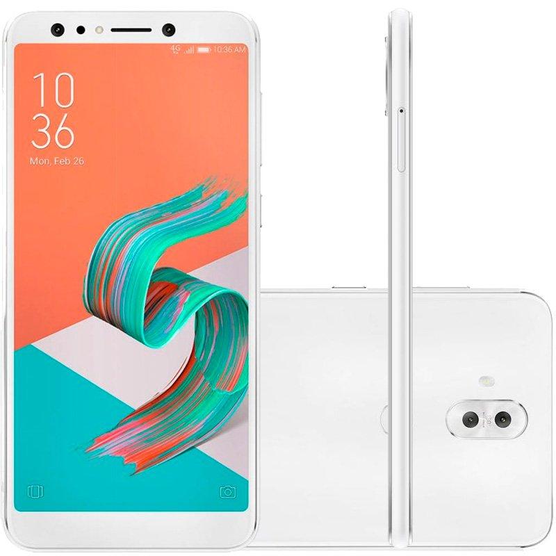 Smartphone Asus Zenfone 5 Selfie Pro Branco 128GB 4GB 6 Full HD Câmera Dual 20MP e 8MP Dual Chip