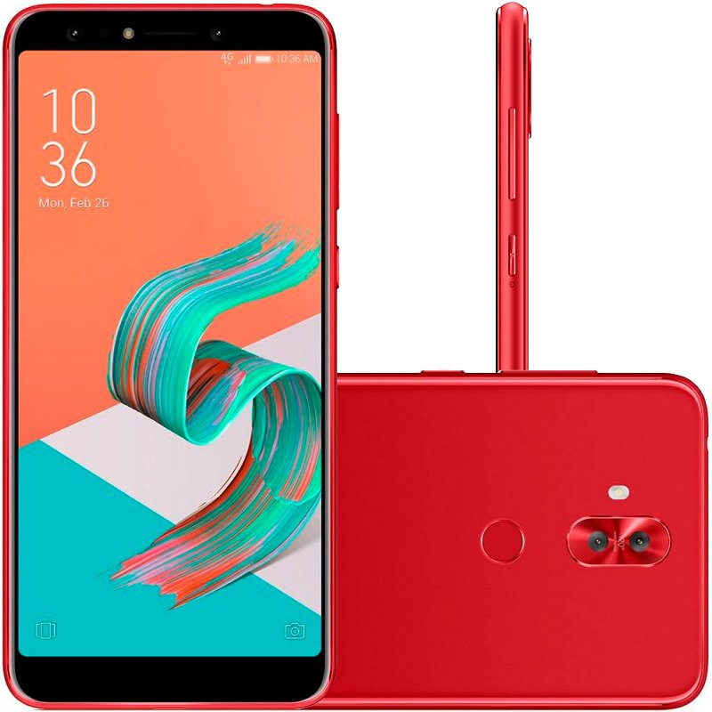 Smartphone Asus Zenfone 5 Selfie Pro Vermelho 128GB 4GB 6 Full HD Câmera Dual 20MP e 8MP Dual Chip