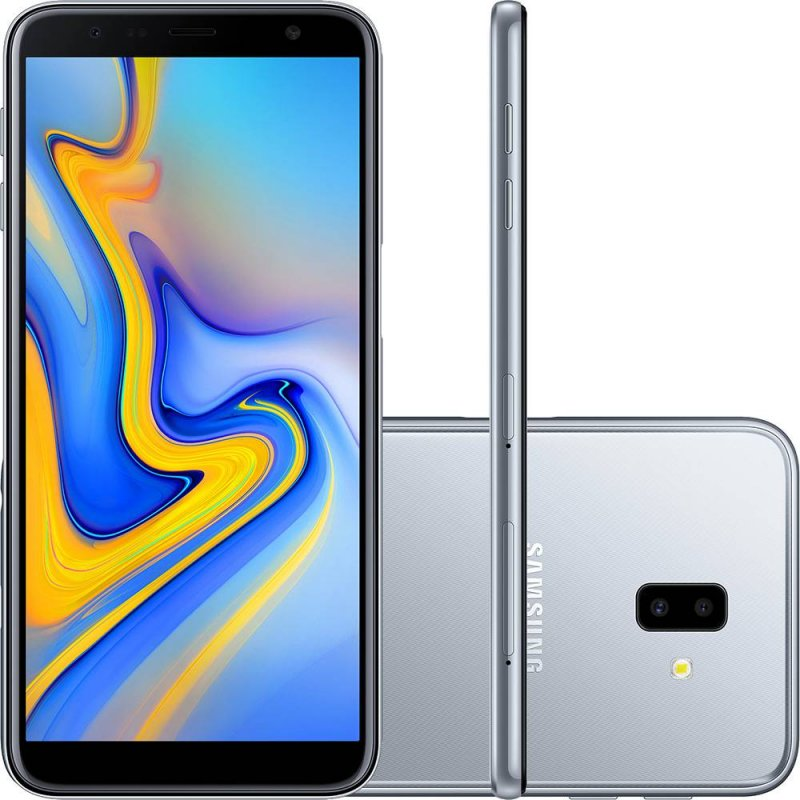 Smartphone Samsung Galaxy J6 Plus Prata 32GB 3GB RAM Tela infinita de 6 Dual Câmera 13MP 5MP