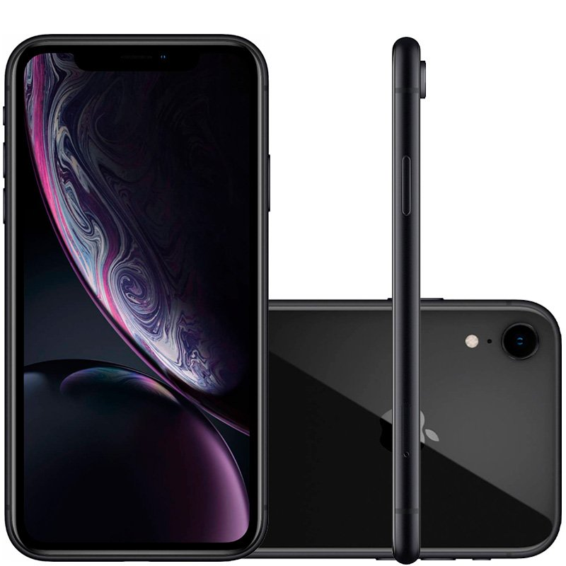 IPhone XR Apple Preto 64GB Tela Liquid Retina 6.1 Câmera Traseira de 12MP MRY42BZ/A