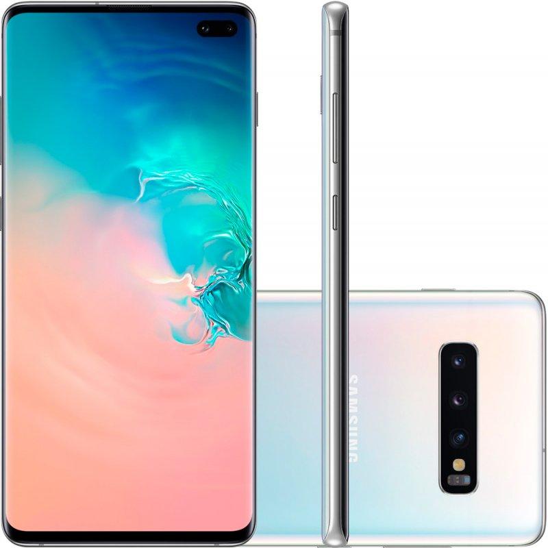 Smartphone Samsung Galaxy S10 Plus Tela 6,4 128GB Dual Chip Octa Core Câmera Traseira Tripla Branco