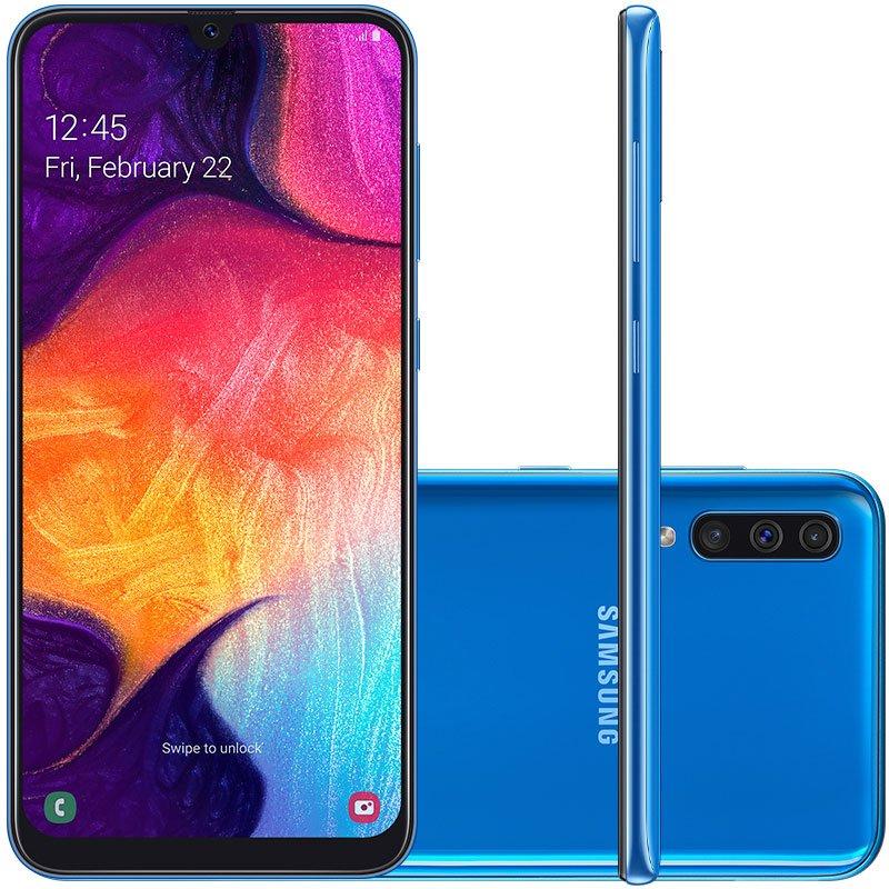 Smartphone Samsung Galaxy A50 64GB 6.4 4GB RAM Câmera Traseira Tripla 25MP 5MP 8MP Azul