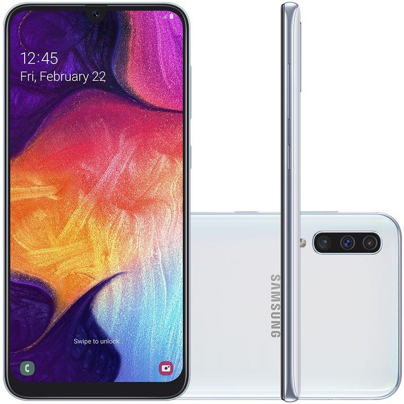 Smartphone Samsung Galaxy A50 64GB 6.4 4GB RAM Câmera Traseira Tripla 25MP 5MP 8MP Branco