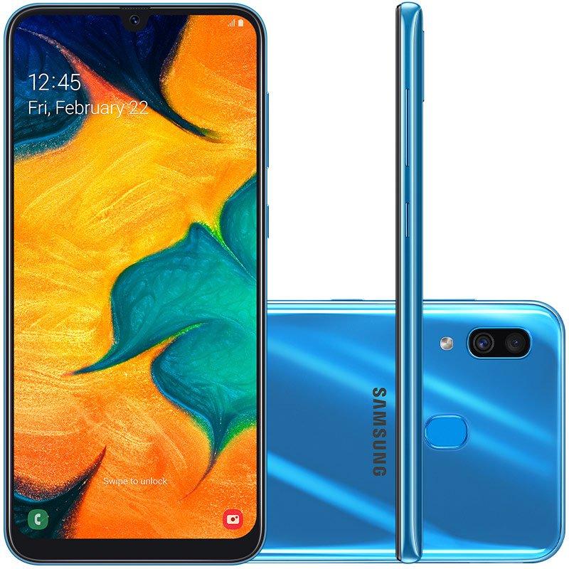 Smartphone Samsung Galaxy A30 64GB 6,4 4GB RAM Camera Traseira Dupla 16MP 5MP Azul