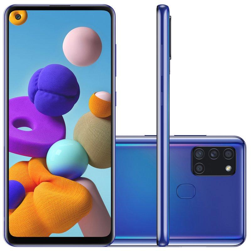 Samsung Galaxy A21s 6,5 Dual Chip 64GB 4GB RAM Azul Octa Core Câmera Quádrupla 48MP Selfie 13MP