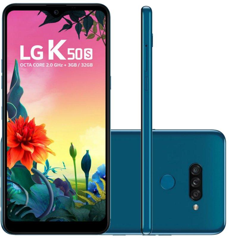 REEMBALADO Smartphone LG K50S Azul 32GB 3GB de RAM Tela de 6,5 Octa Core Câmer