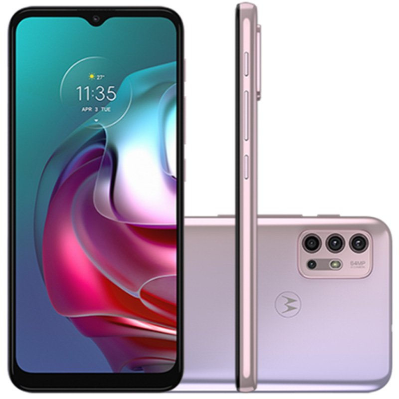 Smartphone Motorola G30 128GB Tela de 6,5 Câmera 64 MP 8MP White Lilac