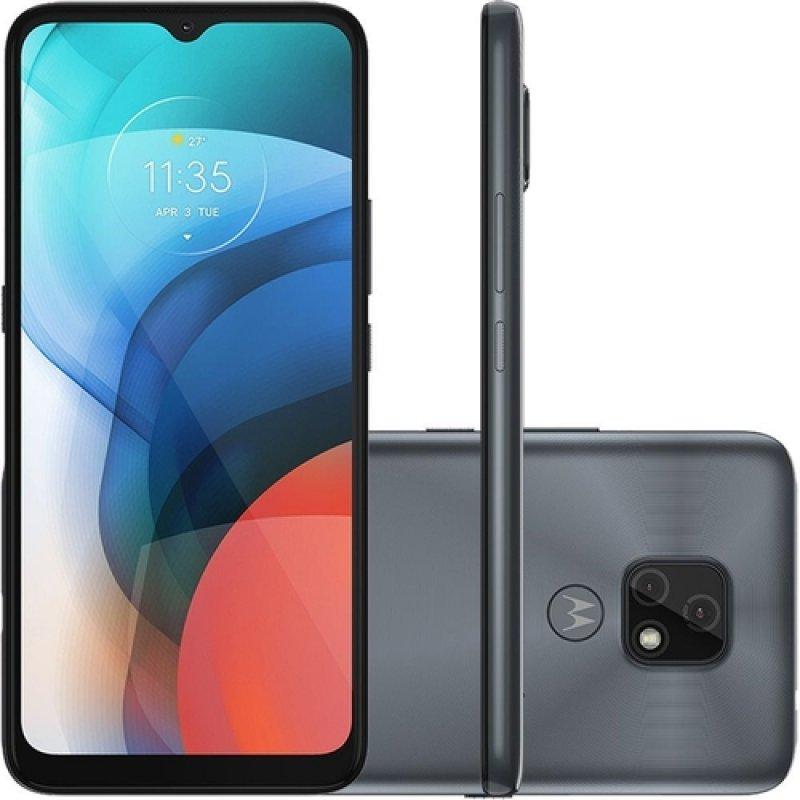 Smartphone Motorola moto e7 64 GB 4G Tela 6.5 Câmera Dupla 48 MP 2 MP Frontal 5 MP Cinza