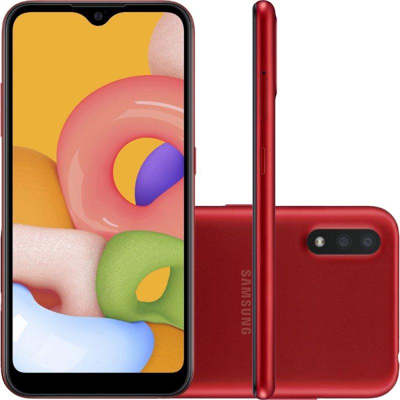 Smartphone Samsung Galaxy A01 32GB 2GB RAM Tela Infinita de 5.7 Câmera Dupla Traseira Vermelho