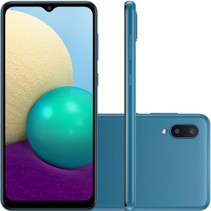 Smartphone Samsung Galaxy A02 Câmera Dupla Traseira 13MP Tela Infinita 6,5 32GB Azul