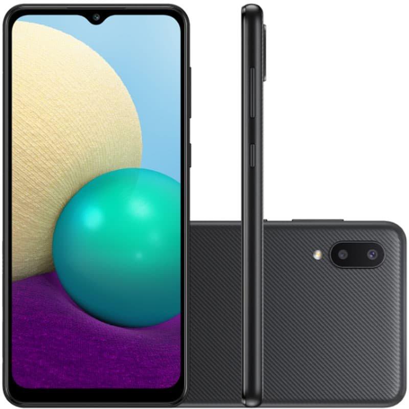 Smartphone Samsung Galaxy A02 Câmera Dupla Traseira 13MP Tela Infinita 6,5 32GB Preto