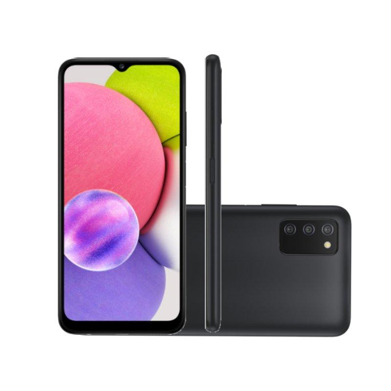 Smartphone Samsung Galaxy A03s Tela 6,5 64GB 4GB Ram Octa Core Cam 13MP 2MP 2MP Selfie 5MP Preto