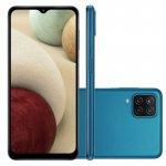 Smartphone Samsung Galaxy A12 Azul 64 GB 6,5 4G RAM Câm. Quádrupla 48 MP Selfie 8 MP Android 10