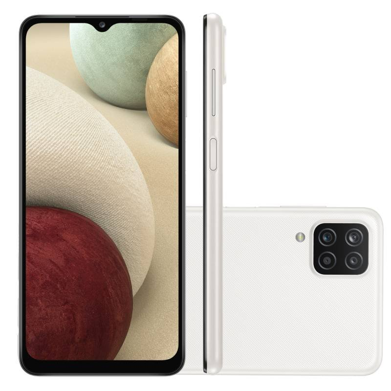 Smartphone Samsung Galaxy A12 Branco 64 GB 6,5 4G RAM Câm. Quádrupla 48 MP Selfie 8 MP Android 11