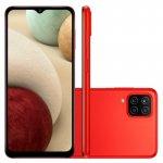 Smartphone Samsung Galaxy A12 Vermelho 64 GB 6,5 4G RAM Câm. Quádrupla 48 MP Selfie 8 MP Android 10