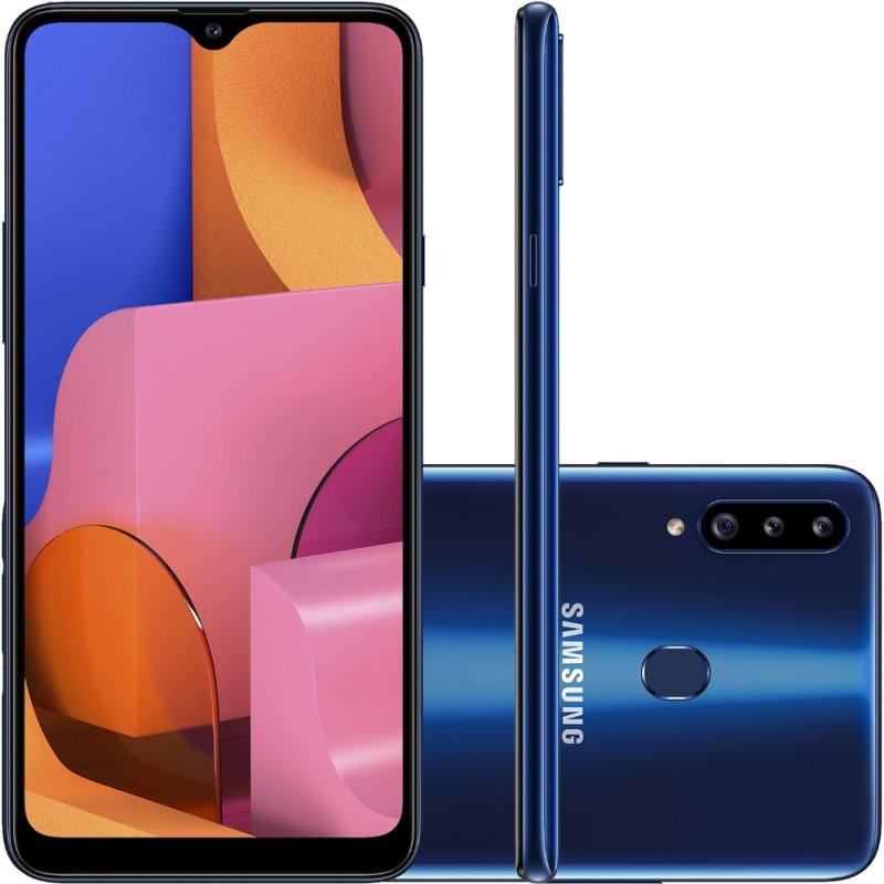 Smartphone Samsung Galaxy A20s 32GB 6.5 3GB RAM Câmera Traseira Tripla 13MP 5MP 8MP Azul
