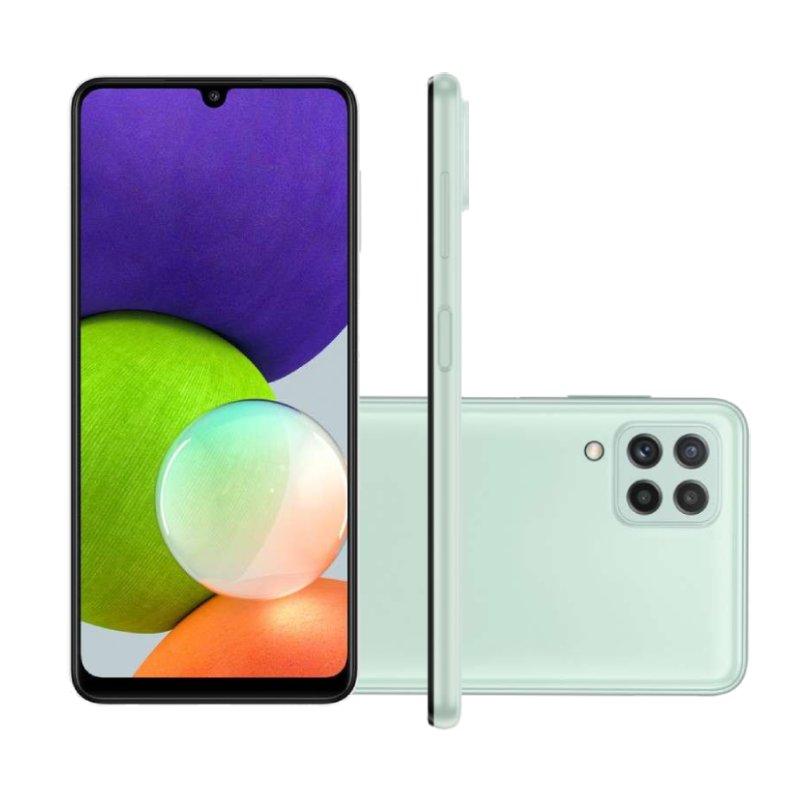 Smartphone Samsung Galaxy A22 Tela 6.4 Octa Core Dual Chip 4GB RAM 128GB 48MP 13MP Verde