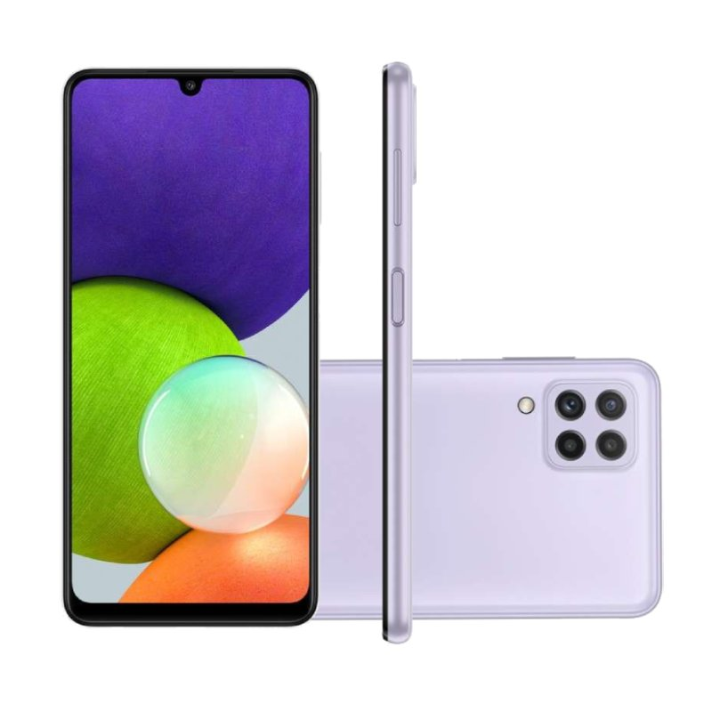 Smartphone Samsung Galaxy A22 Tela 6.4 Octa Core Dual Chip 4GB RAM 128GB 48MP 13MP Violeta