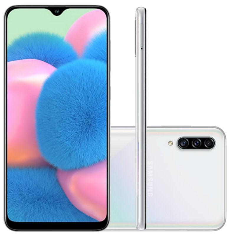 Smartphone Samsung Galaxy A30S 64GB 6.4 TV Digital Câmera Traseira Tripla 25MP 5MP 8MP Branco