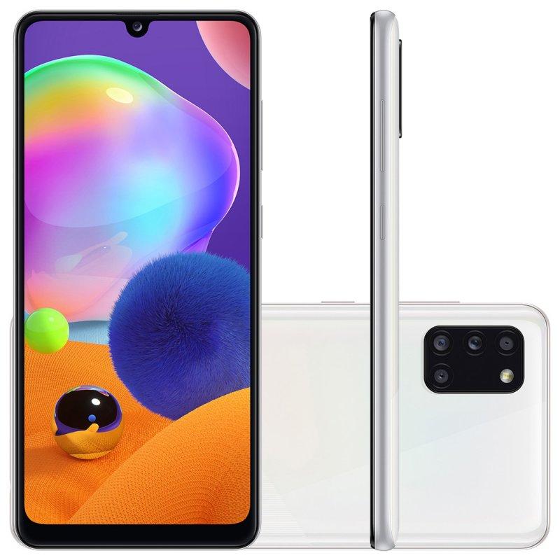 Smartphone Samsung Galaxy A31 Branco Dual Chip Câmera Quádrupla Tela Infinita 6.4 128G 4GB RAM