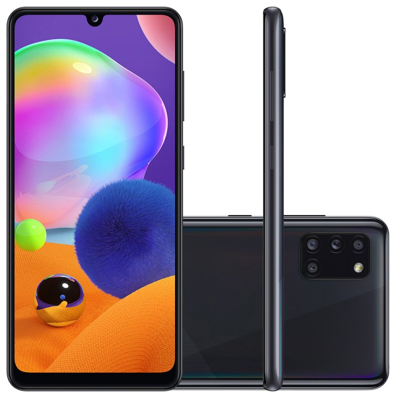 Smartphone Samsung Galaxy A31 Preto Dual Chip Câmera Quádrupla Tela Infinita 6.4 128G 4GB RAM