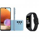 Smartphone Samsung Galaxy A32 Câmera 64MP Azul e Smartwatch Samsung Galaxy Fit2 1,1