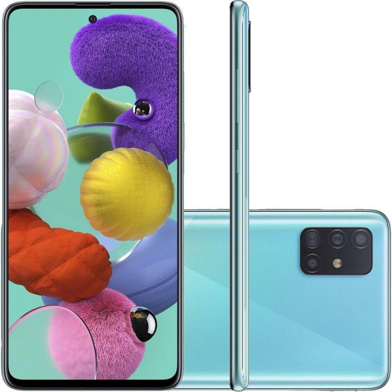 Smartphone Samsung Galaxy A51 128GB 6.5 4GB RAM Câmera Traseira Quádrupla 48MP 12MP 5MP 5MP Azul