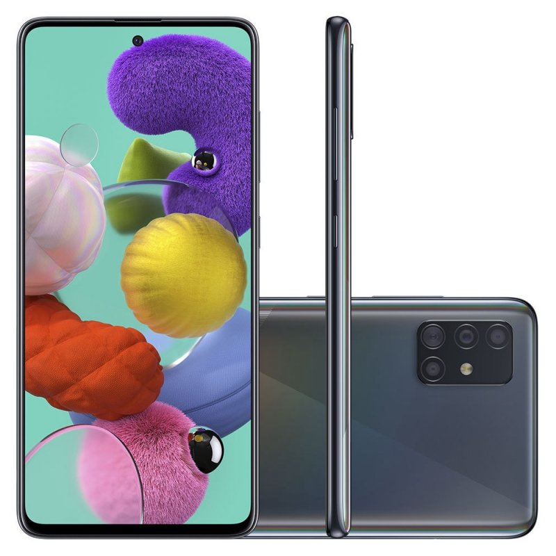 Smartphone Samsung Galaxy A51 128GB 6.5 4GB RAM Câmera Traseira Quádrupla 48MP 12MP 5MP 5MP Preto