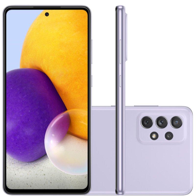 Smartphone Samsung Galaxy A72 Câmera Quádrupla Traseira de 64MP Tela de 6,7 Octa Core Violeta
