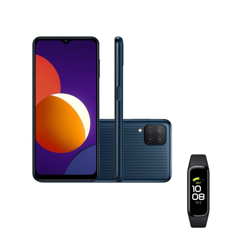 Smartphone Samsung Galaxy M12 64 GB Preto e Galaxy Fit2 1,1 Preto