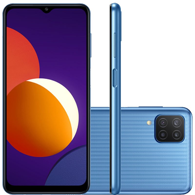 REEMBALADO Smartphone Samsung Galaxy M12 64GB Tela 6.5 Dual Chip 4GB RAM Câmera Quádrupla Azul