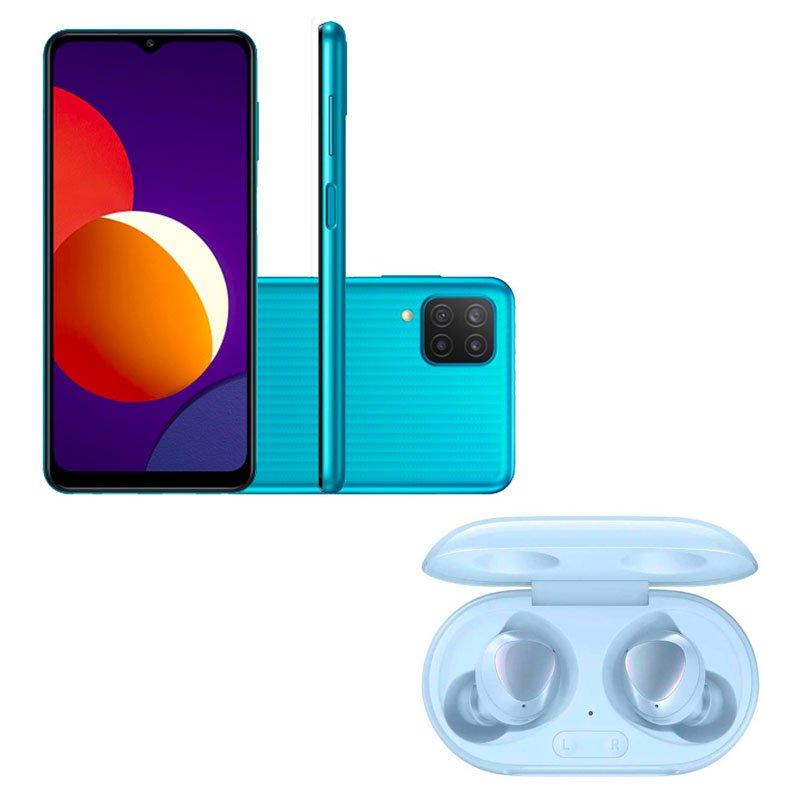 Smartphone Samsung Galaxy M12 Verde e Galaxy Buds Plus Bluetooth Azul