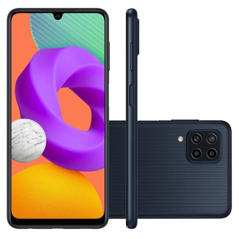 Smartphone Samsung Galaxy M22 Preto 128 GB 6.4 4 GB RAM Câm. Quádrupla 48 MP Selfie 13 MP