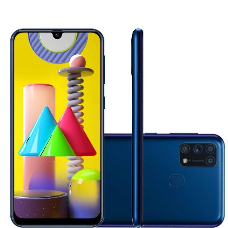 Smartphone Samsung Galaxy M31 Tela infinita de 6.4 128GB 6GB RAM Câmera 64MP Dual Chip Azul