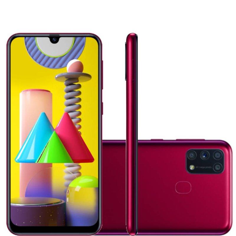 Smartphone Samsung Galaxy M31 Tela infinita de 6.4 128GB 6GB RAM Câmera 64MP Dual Chip Rosa