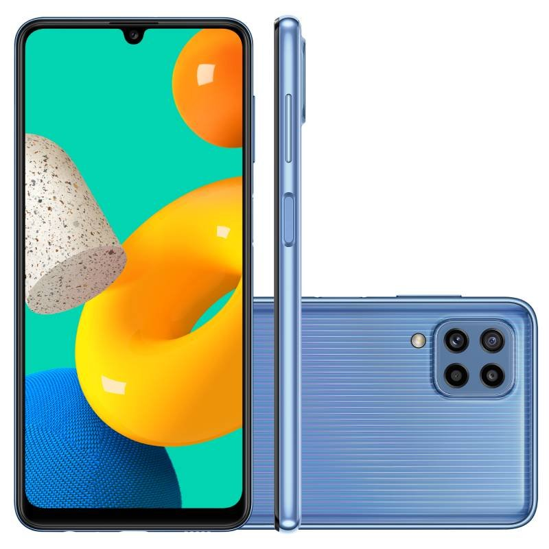 Smartphone Samsung Galaxy M32 128GB 4G Tela de 6,4 Azul Octa Core Dual Chip 6GB RAM 20MP