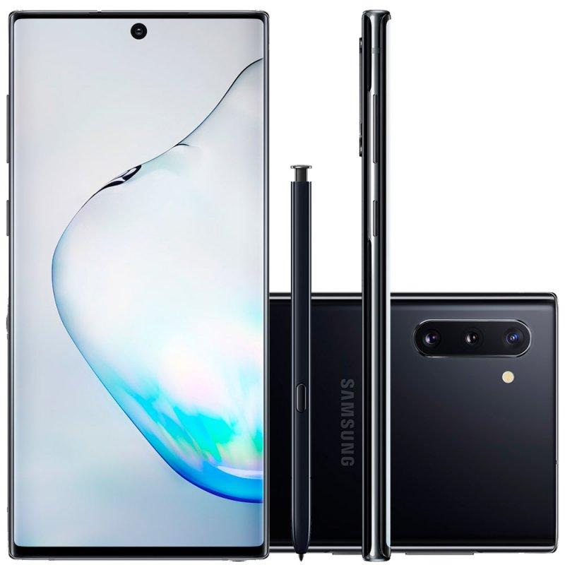 Smartphone Samsung Galaxy Note 10 Preto 256GB 8GB RAM Tela de 6,4 Câmera Traseira Tripla