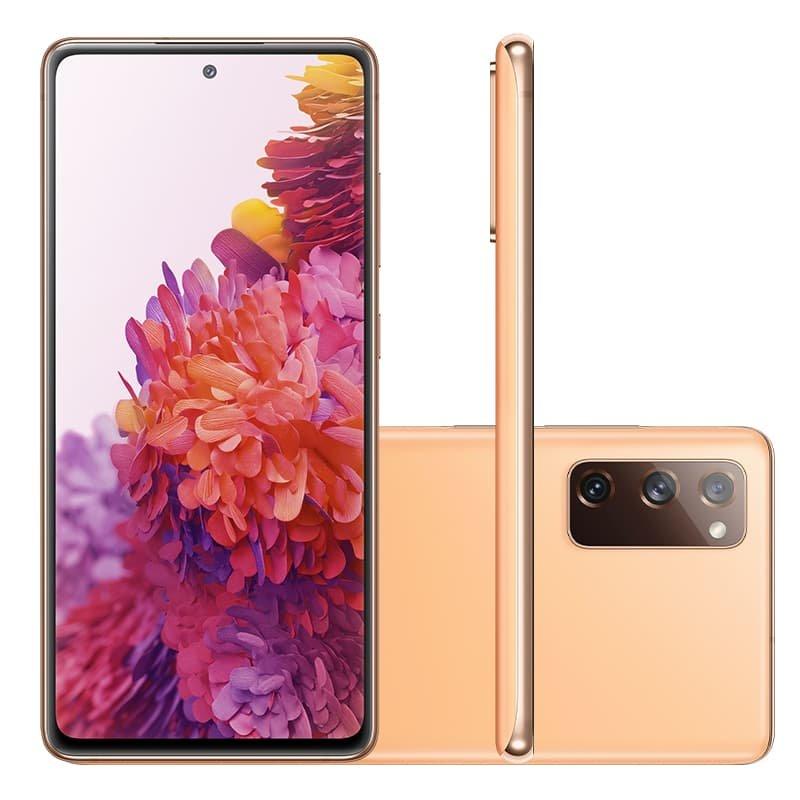 Smartphone Samsung Galaxy S20FE Cloud Orange 128GB 6.5 6 GB RAM Câm. Tripla 12 MP Selfie 32 MP
