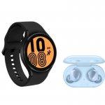 Galaxy Watch4 BT 40mm Preto e Buds Plus Bluetooth Azul