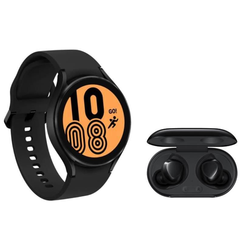 Galaxy Watch4 BT 44mm Preto e Buds Plus Bluetooth Preto