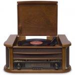 Compare Toca Discos Raveo Ópera Bivolt Madeira com Bluetooth USB Rádio FM Cassete CD Player e Gravação
