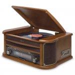 Toca Discos Raveo Ópera Bivolt Madeira com Bluetooth USB Rádio FM Cassete CD Player e Gravação