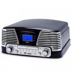 Toca Discos Raveo Harmony Vintage Anos 50 Preto Bluetooth USB e SD FM CD Player e Gravação Bivolt