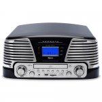 Toca Discos Raveo Harmony Vintage Anos 50 Preto Bluetooth USB e SD FM CD Player e Gravação