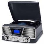 Toca Discos Raveo Harmony Vintage Anos 50 Titanium Bluetooth USB e SD FM CD Player e Gravação