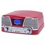 Toca Discos Raveo Harmony Vintage Anos 50 Vermelho Bluetooth USB e SD AM FM CD Player e Gravação