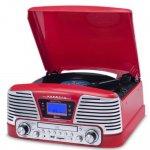 Toca Discos Raveo Harmony Vintage Anos 50 Vermelho Bluetooth USB e SD FM CD Player e Gravação Bivolt