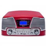 Compare Toca Discos Raveo Harmony Vintage Anos 50 Vermelho Bluetooth USB e SD FM CD Player e Gravação Bivolt