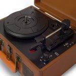 Toca Discos Raveo Sonetto Marrom Bivolt 10 Watts com Conexão Bluetooth Entrada USB e Gravação