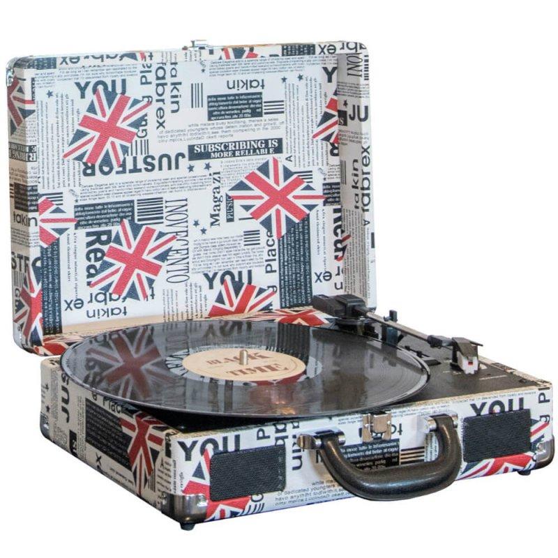 Oferta ➤ Toca Discos Ribeiro e Pavani London Estampado Bivolt 10 Watts Entrada Line in Saída Fone de Ouvido   . Veja essa promoção